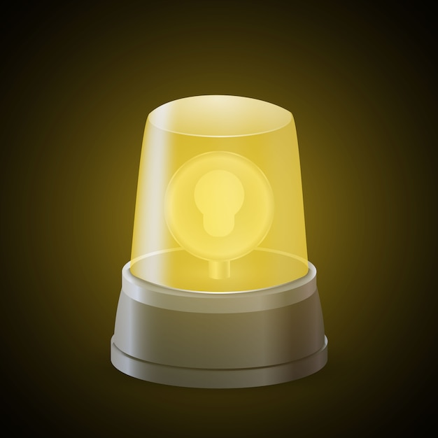Realistic yellow flasher light siren . alert sign Premium Vector