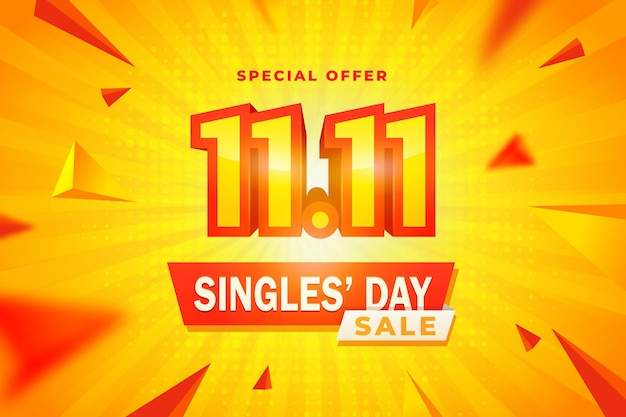 Realistic yellow and orangesingles' day Free Vector