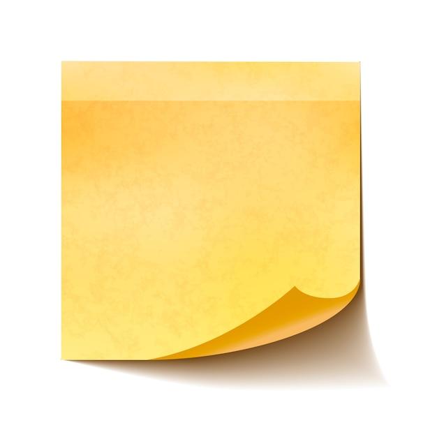 Реалистичная желтая заметка на белом фоне Premium векторы