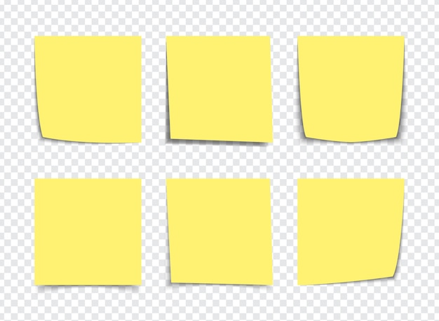 Realistic yellow sticky note notes isolated on white. square sticky paper reminders with shadows Premium Vector