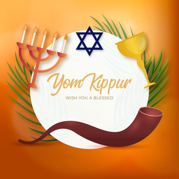 Sfondo realistico yom kippur con candele e corno Vettore gratuito