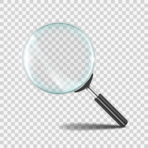 Реалистичный значок зум-объектива с прозрачным стеклом Premium векторы