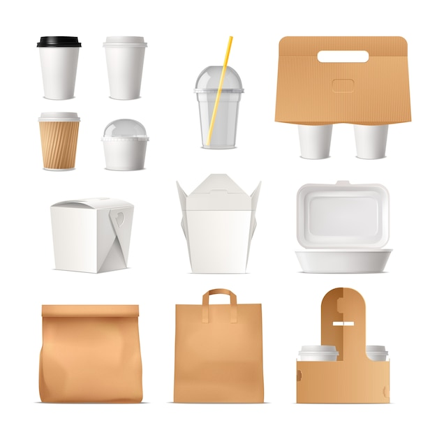 Realisticset of takeout packages made of paper Free Vector