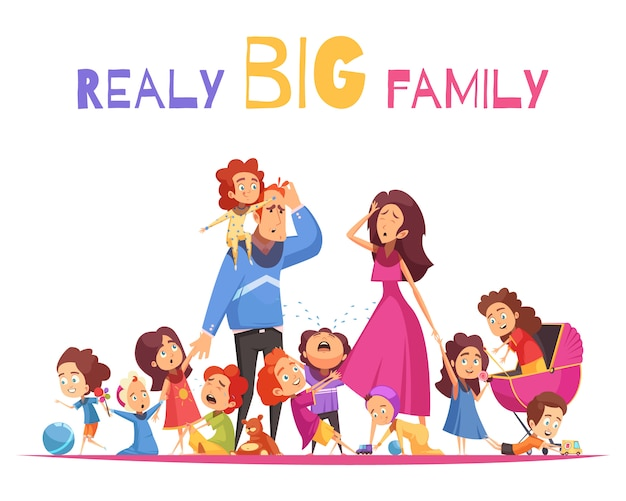 Realy big family vector illustration with happy and crying nimble kids and sad parents cartoon characters Free Vector