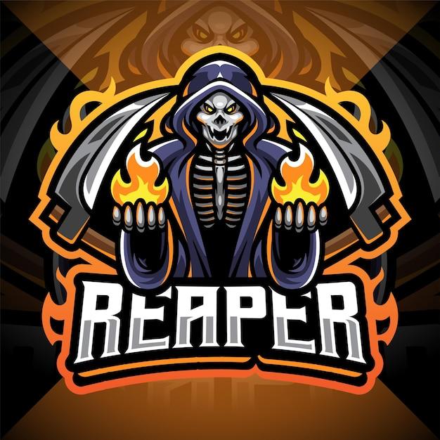 Reaper Esport 마스코트 로고 프리미엄 벡터
