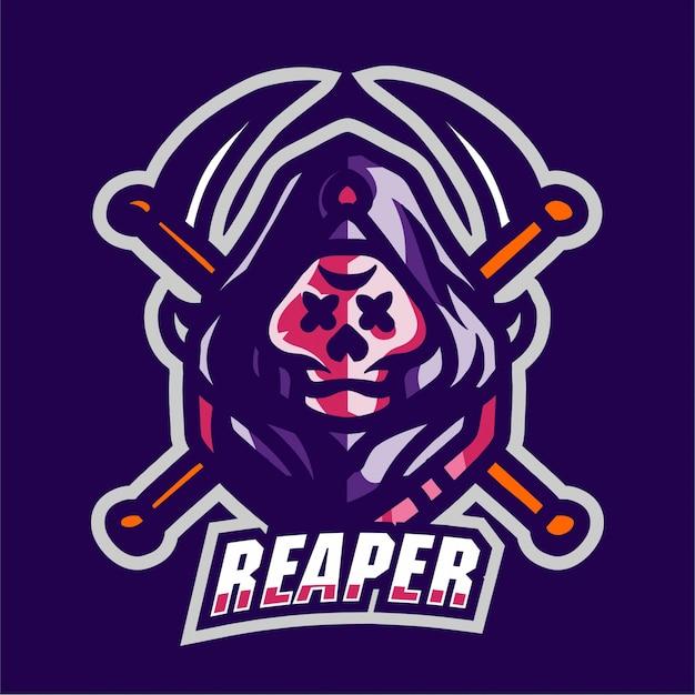 Reaper mascot gaming logo Premium Vector