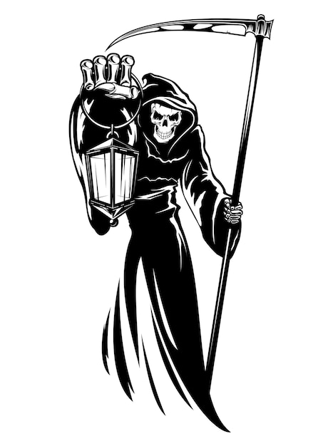 Reaper with scythe and lantern. Premium Vector