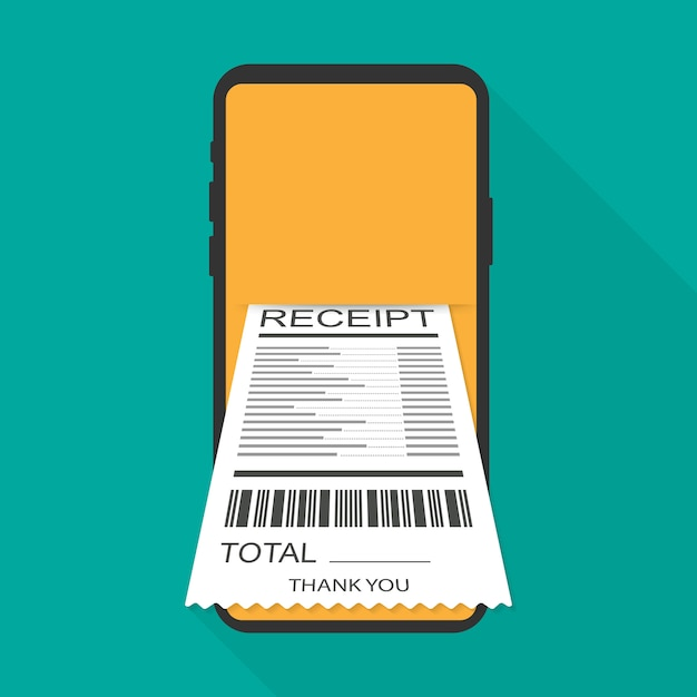 Receipt bill on smartphone vector illustration isolated, flat cartoon design paper invoice on mobile phone. vector illustration. Premium Vector