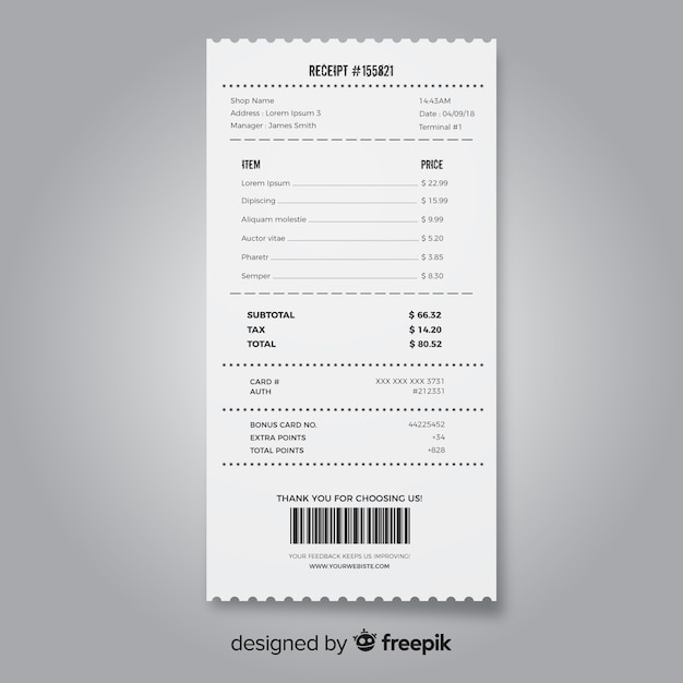 Receipt template collection with realistic design Free Vector