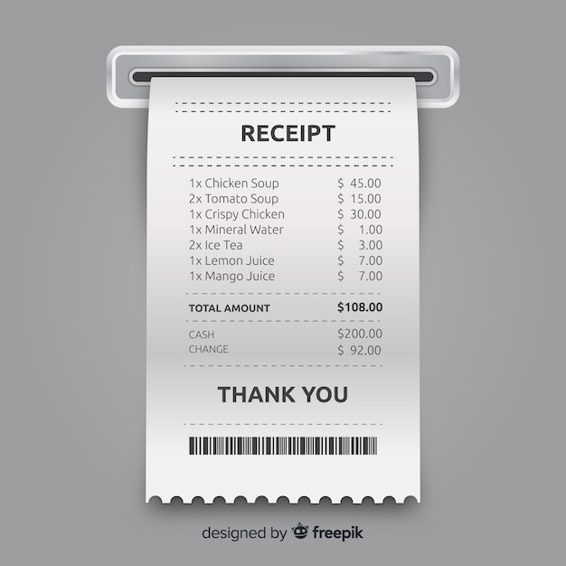 receipt template collection with realistic design vector free download