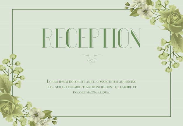 Reception card template with blossom, rose and\ lily of valley on light green background.