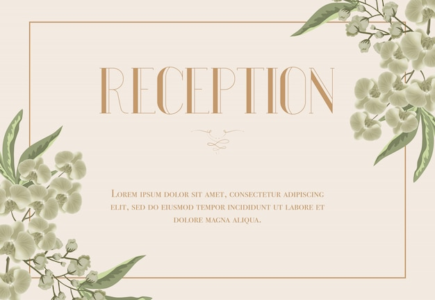 Reception card template with iris and lily of\ valley on beige background.