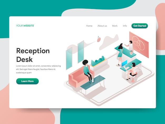 Reception desk for web page Premium Vector