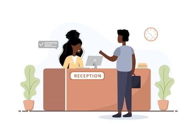 리셉션 인테리어. 아프리카 여자 접수 및 리셉션 데스크에서 서류 가방을 가진 남자. 호텔 예약, 클리닉, 공항 등록, 은행 또는 사무실 리셉션 개념. 만화 평면 그림 프리미엄 벡터