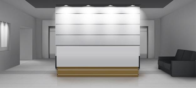 엘리베이터가있는 리셉션 내부, 책상, 조명, 소파 및 엘리베이터 문이있는 현대적인 현관 공간. 부드러운 빛, 현대적인 장식 렌더링, 현실적인 3d 벡터 일러스트와 함께 빈 홀 또는 로비 영역 무료 벡터