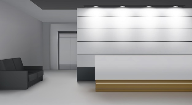 Interiore della reception con ascensore, moderna hall con scrivania, illuminazione, divano e porta dell'ascensore Vettore gratuito