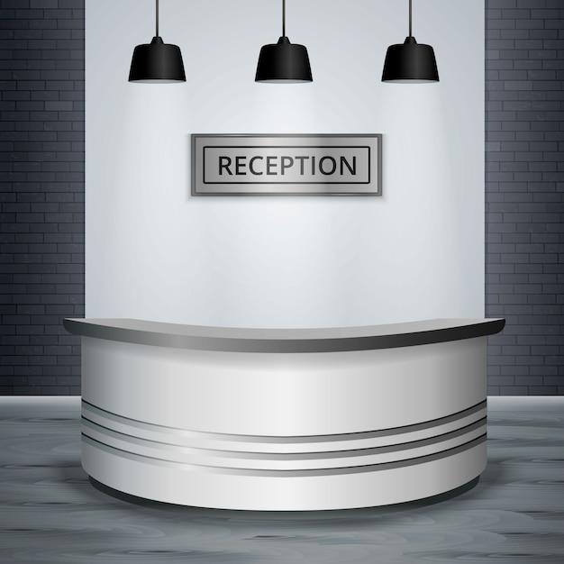 レセプションロビーオフィスインテリア現実的 無料ベクター