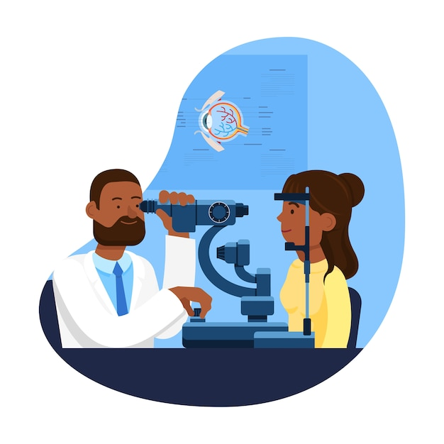 Reception at ophthalmologist. Premium Vector