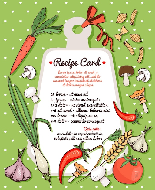 Recipe card template with text space surrounded by fresh vegetables  mushrooms and spices with assorted dried italian pasta Free Vector