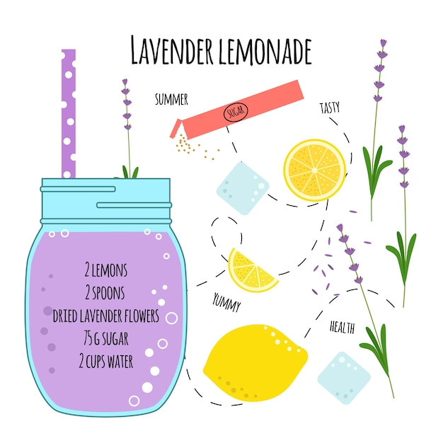 Recipe lavender lemonade Premium Vector