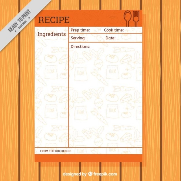Recipe template with food drawings Free Vector
