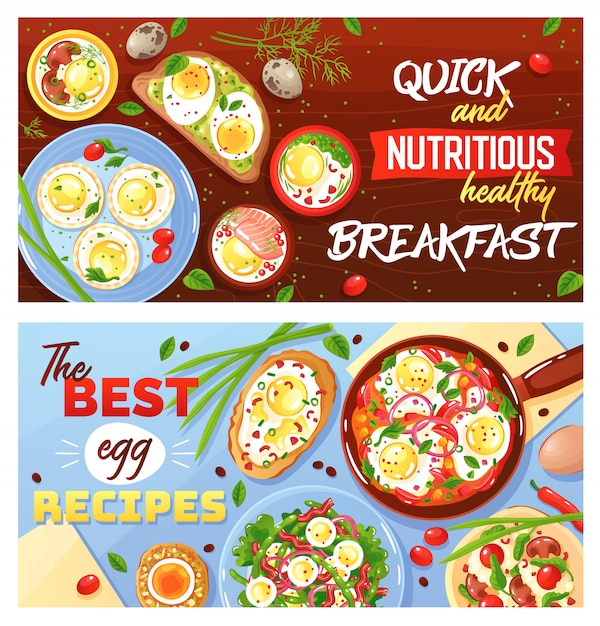 Recipes of egg dishes quick and healthy breakfast set of horizontal flat banners Free Vector