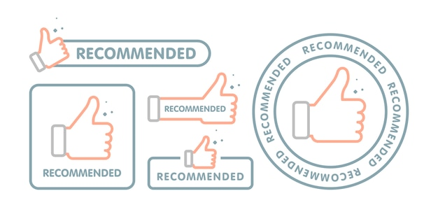 Recommended icon set Premium Vector