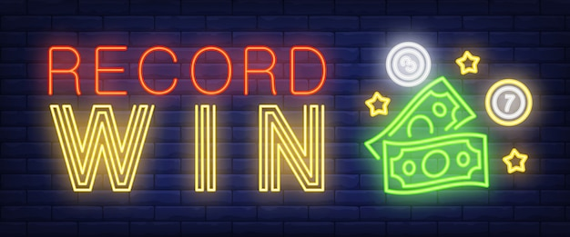 Record win neon sign Free Vector