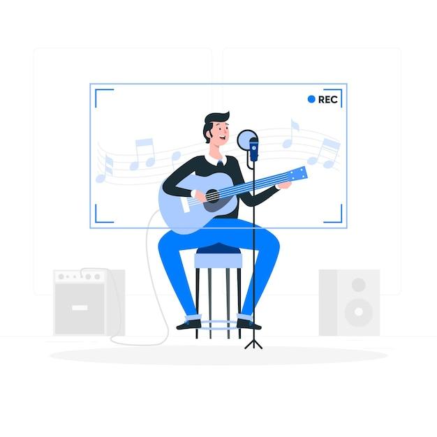 Recording concept illustration Free Vector