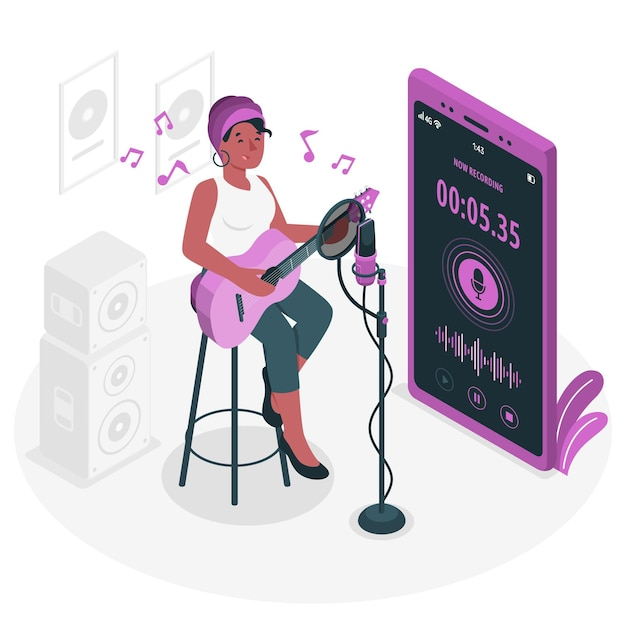 Recording concept illustration Free Vector