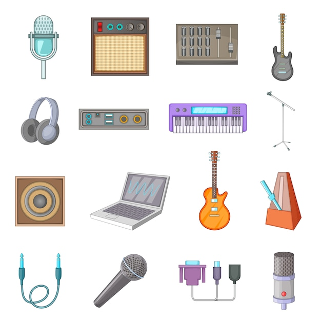 Recording studio icons set Premium Vector
