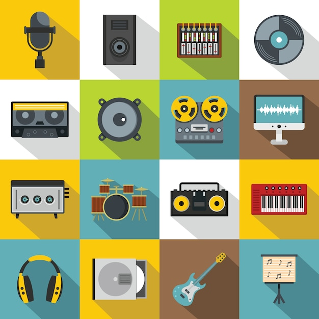 Recording studio items icons set, flat style Premium Vector