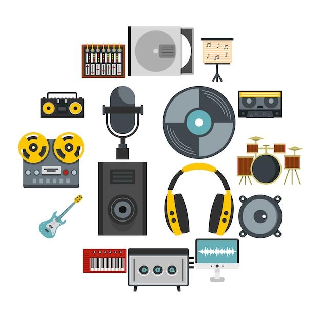 Recording studio items icons set in flat style Premium Vector