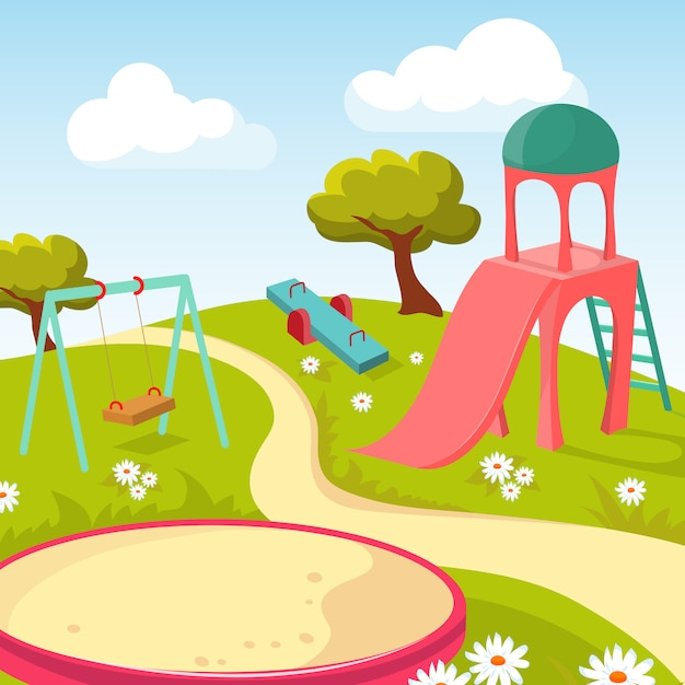 Recreation children park with play equipment illustration Premium Vector
