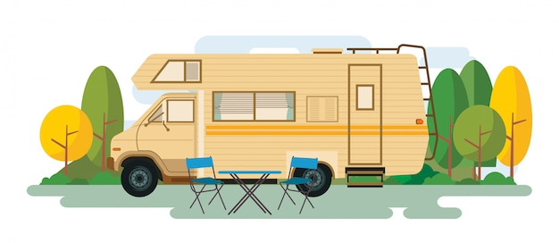 Recreational van sitting on nature Premium Vector