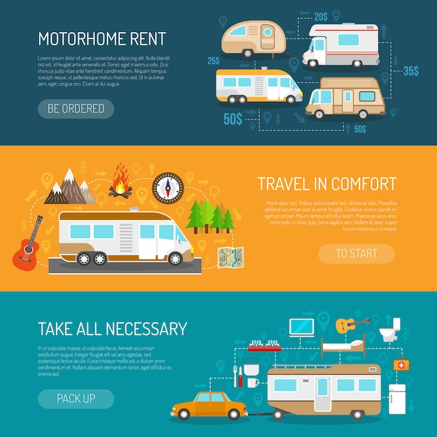 Recreational vehicle banners set Free Vector