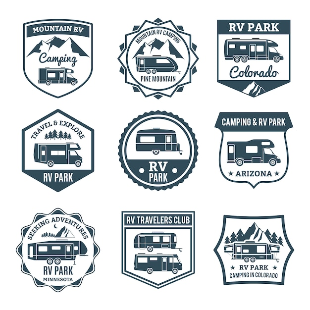 Recreational vehicle emblems Free Vector
