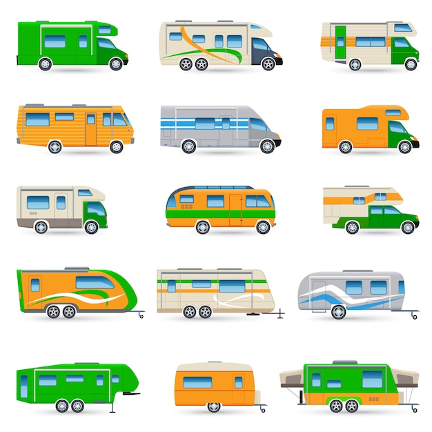 Recreational vehicle icons set Free Vector