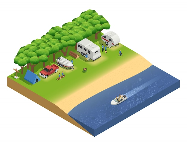 Recreational vehicles on beach isometric composition with people and boat Free Vector