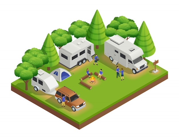 Recreational vehicles isometric composition with trailer people and forest Free Vector