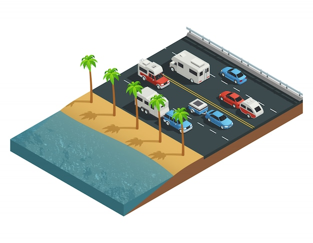 Recreational vehicles on road isometric composition with trailer people and forest Free Vector