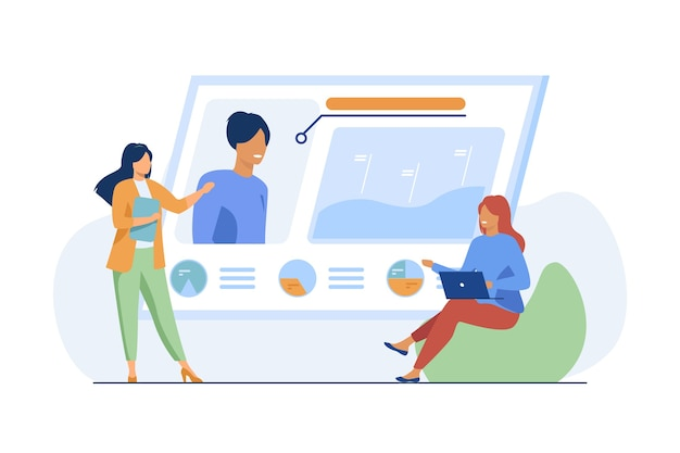 Recruit agency managers. women studying and discussing candidates profile flat vector illustration. recruitment, hr, personnel selection Free Vector