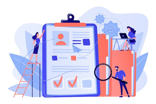 Recruiters and managers searching for candidate in huge cv for position. recruitment agency, human resources service, recruitment network concept illustration Free Vector