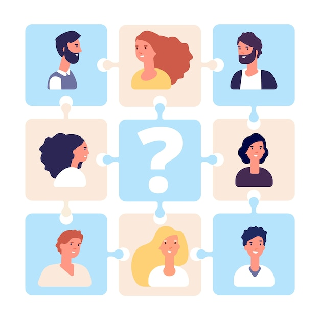 Recruiting illustration. business team puzzle without team leader. hr management, employment agency Premium Vector