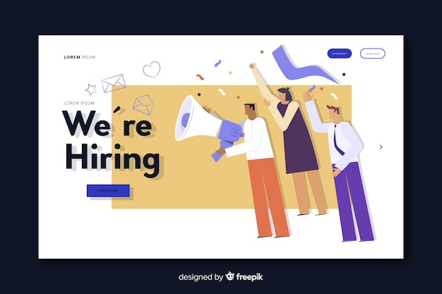 Recruiting landing page Free Vector