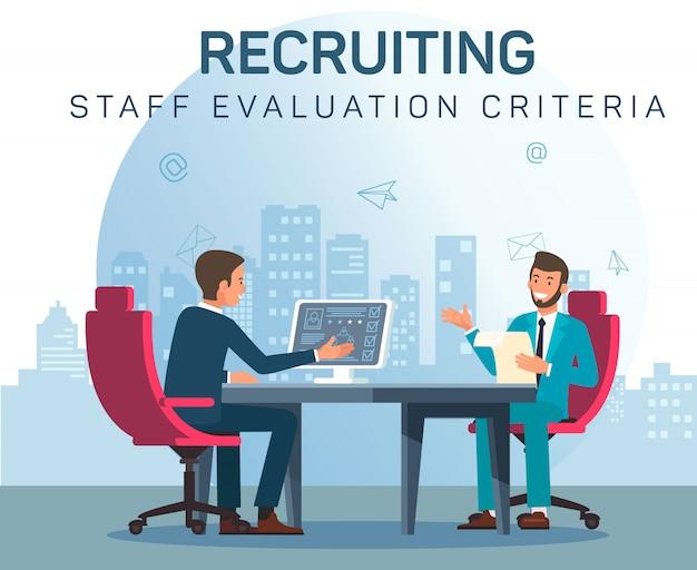 Recruiting staff evaluation criteria communication Premium Vector