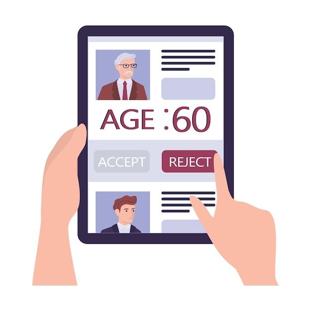 Концепция эйджизма набора. специалист по персоналу отклонить резюме старика. проблема несправедливости и трудоустройства пожилых людей. отдел кадров не нанимает людей старше 50 лет. Premium векторы