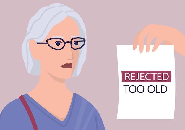 Концепция эйджизма набора. специалист по персоналу отклонить старуху резюме. проблема несправедливости и трудоустройства пожилых людей. отдел кадров не нанимает людей старше 50 лет. иллюстрация Premium векторы