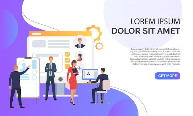 Recruitment agency, applicants, job interview and sample text Free Vector