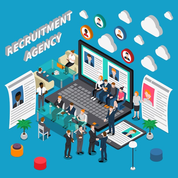 Recruitment agency isometric illustration Free Vector